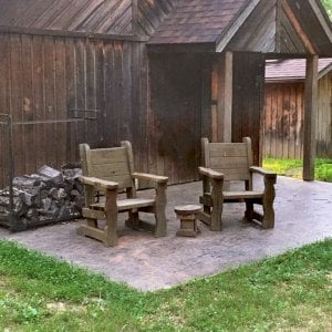 Angel's Chairs (Options: California Redwood, No Cushion, Transparent Premium Sealant). Photo Shows Chairs That Are 7 Years Old. Photo Also Shows a Mini 12 inch Round Wood Side Table. Photo Courtesy of Brenda Stafford of Vienna, Missouri.