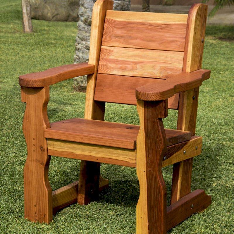 "Angel's Chair (Options: California Redwood, No Cushion, Seat 20"" High Off Ground by Custom Request, Transparent Premium Sealant). Photo Courtesy of M. Bucmaniuk of San Juan Bautista, California."