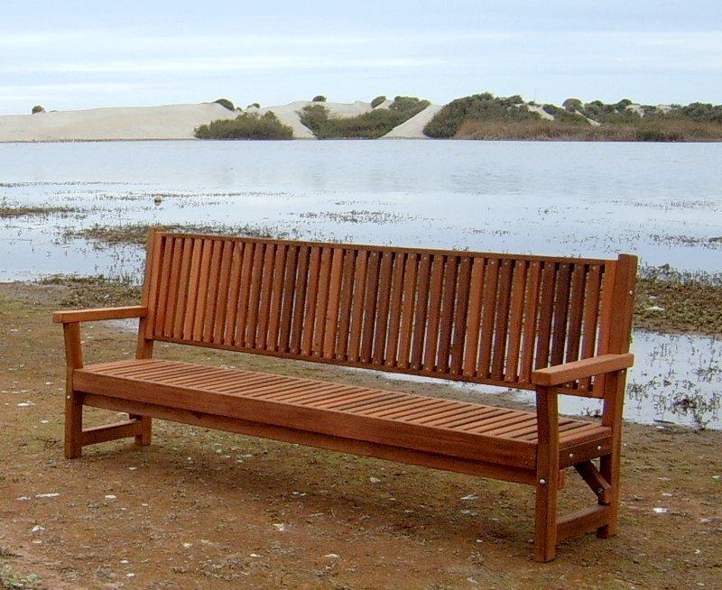 Annapolis Bench (Options: 8 ft, Mature Redwood, No Cushion, No Engraving, Transparent Premium Sealant).