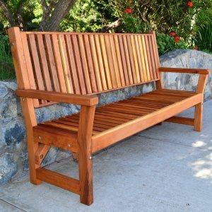 Annapolis Bench (Options: 6 ft, California Redwood, No Cushion, No Engraving, Transparent Premium Sealant).