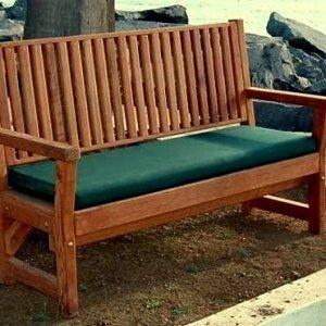 Annapolis Bench (Options: 5 ft, Mature Redwood, Forest Green Cushion, No Engraving, Transparent Premium Sealant).