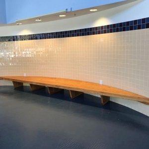Custom Arc Picnic Bench installed at Mid-Peninsula High School (1340 Willow Road, Menlo Park, California 94025).