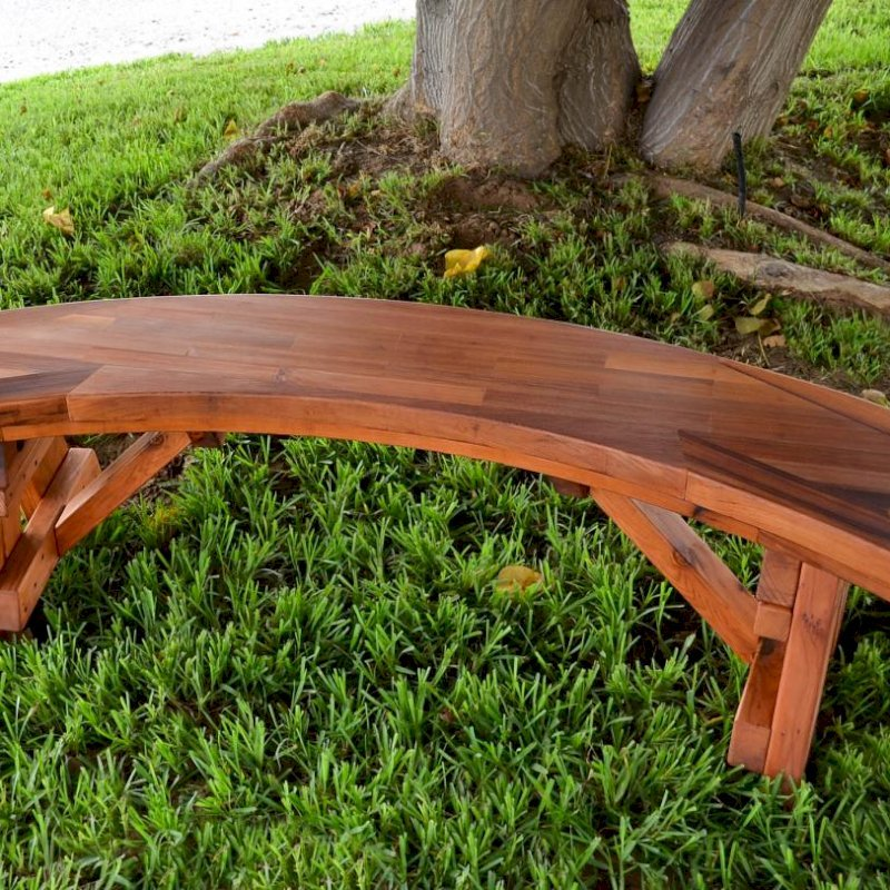 Arc Picnic Bench (Options: 4 ft, Old-Growth Redwood, No Engraving, Transparent Premium Sealant). Parquet benchtop is a no additional cost custom request.
