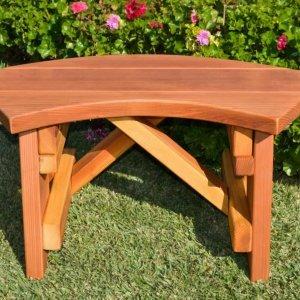 Arc Picnic Bench (Options: Custom Length, Redwood, No Engraving, Transparent Premium Sealant).