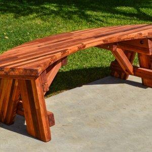 Arc Picnic Bench (Options: 4 ft, Mosaic Eco-Wood, No Engraving, Transparent Premium Sealant).