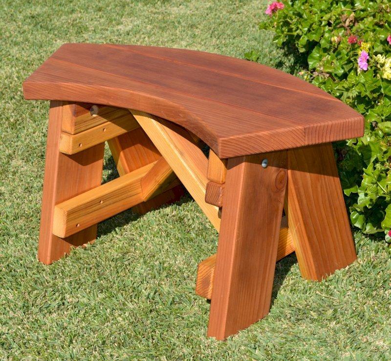 Arc Picnic Bench (Options: Custom Length, California Redwood, No Engraving, Transparent Premium Sealant).