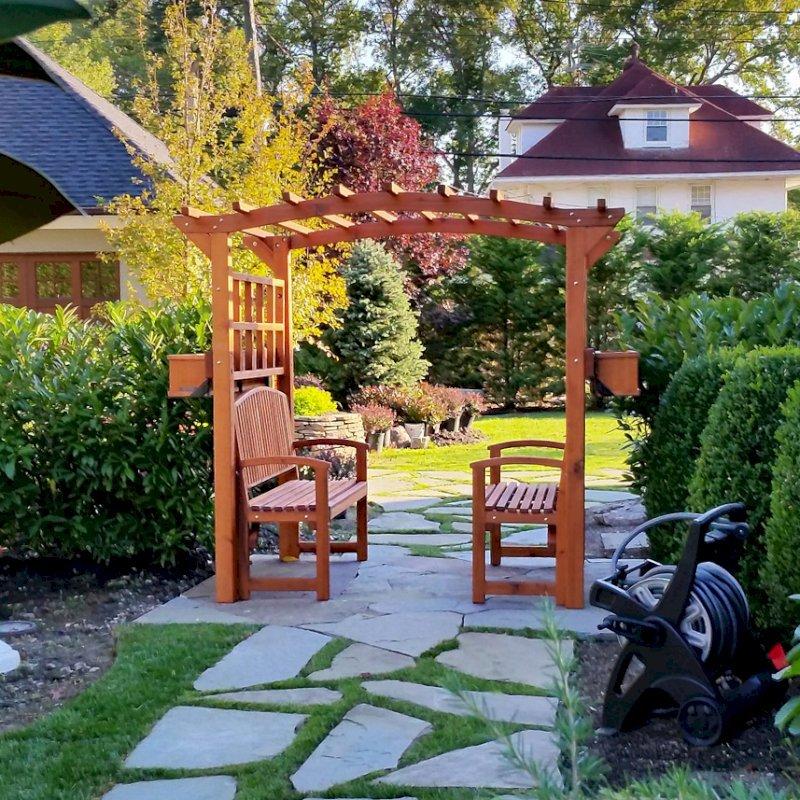 Custom Arched Arbor (Options: Mature Redwood, Transparent Premium Sealant) with 2 Box Planters and 2 Luna Benches. Photo Courtesy of Alex Amodio, Owner/ Park Avenue Gardens, L.L.C.