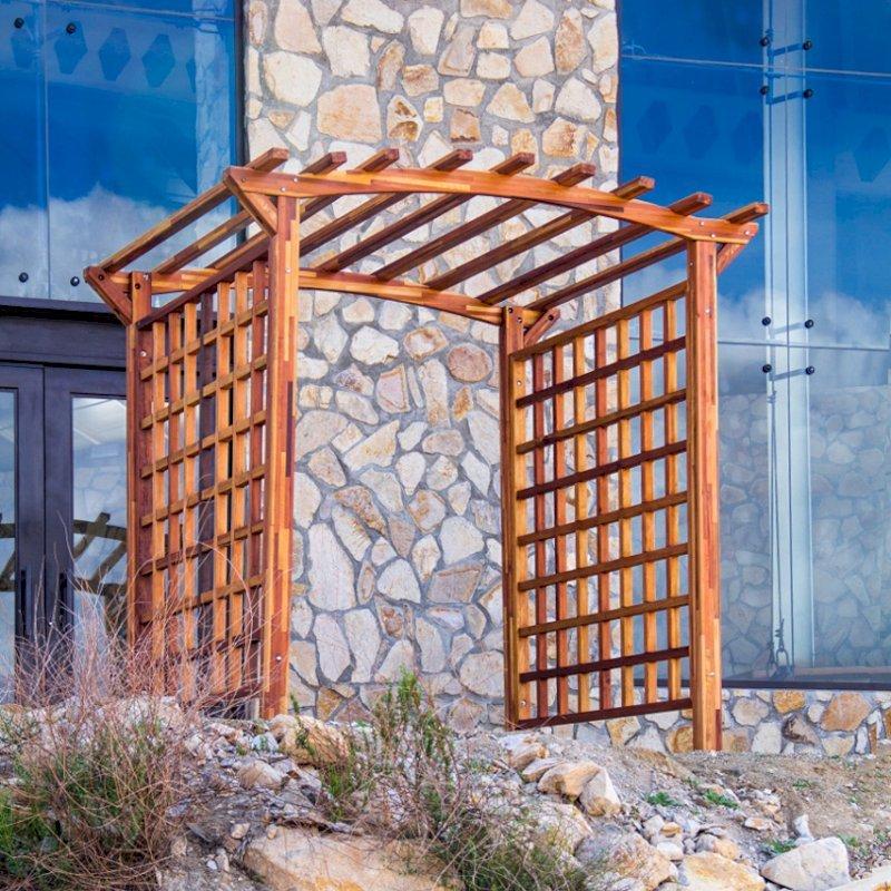 """Arched Garden Arbor (Options: 96"""" W x 96"""" D, Mosaic Eco-Wood, No Anchor Kit, Transparent Premium Sealant)."""