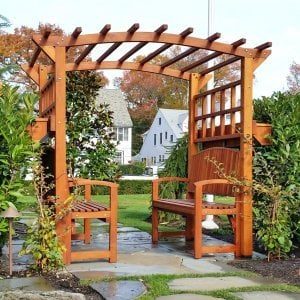 Custom Arched Garden Arbor. Includes 2 Luna benches and 2 window box planters. Photo Courtesy of Alex A. of Ocean, New Jersey.