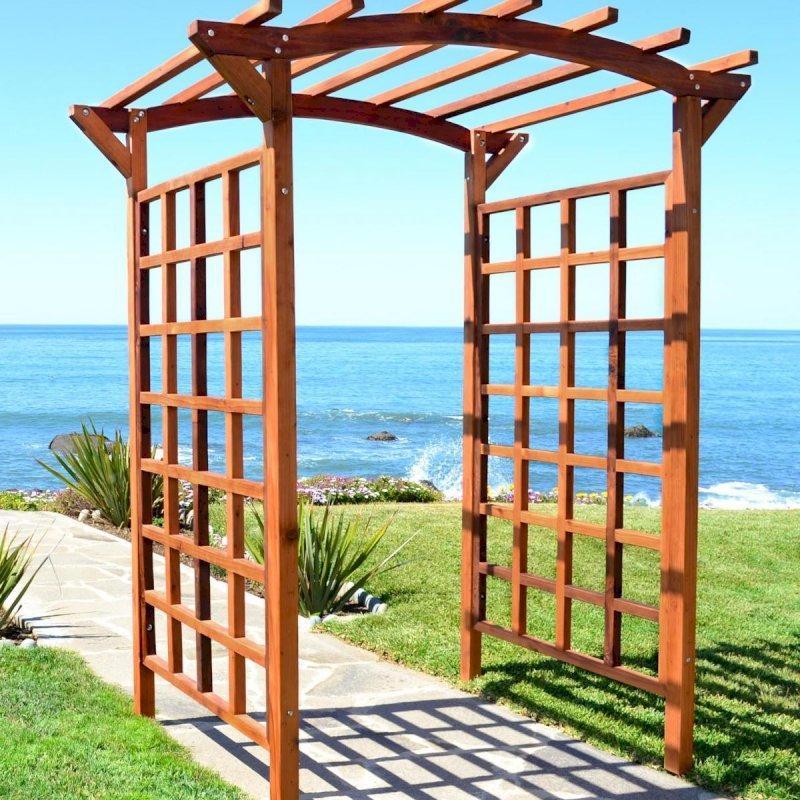 """Arched Garden Arbor (Options: 96"""" W x 48"""" D, Mature Redwood, No Anchor Kit, Transparent Premium Sealant)."""