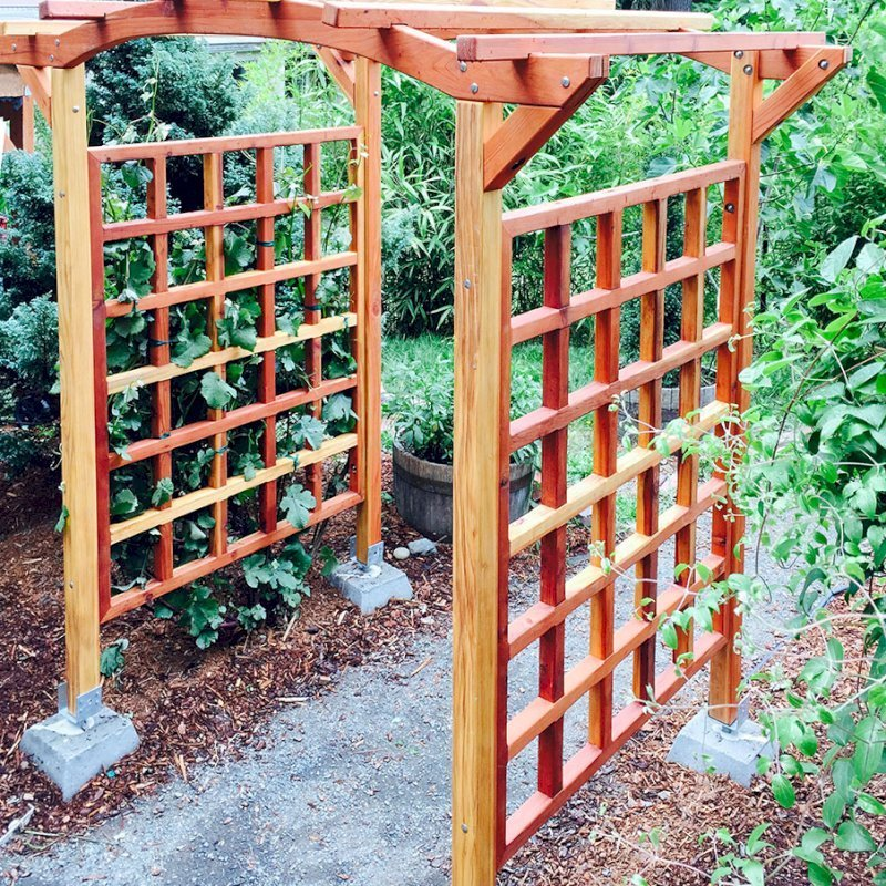 """Arched Garden Arbor (Options: 48"""" W x 60"""" D, California Redwood, No Anchor Kit, Transparent Premium Sealant). Photo Courtesy of Evelyn and Dan Martin of Poulsbo, Washington."""