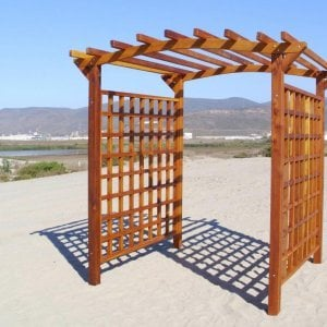 """Custom sized Arched Garden Arbor (Options: 96"""" W x 96"""" D, Mature Redwood, No Anchor Kit, Transparent Premium Sealant). If you'd like a custom sized arbor, just let us know."""