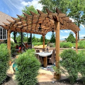Arched Open Sky Pergola (Options: 16' L x 14' Arc W, California Redwood, 2 Electrical Wiring Trims, 4 Post Anchor Kit for Concrete, 2 Ceiling Fan Bases, No Privacy Panels, No Curtain Rods, 9' Post Height, Transparent Premium Sealant). Photo Courtesy of J. Buck of Kansas City, Missouri.