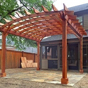 Arched Open Sky Pergolas (Options: 16' L x 12' Arc W, Redwood, No Electrical Wiring Trim, Arched Roof with Lattice Panels, 4 Post Anchor Kit for Wood, No Ceiling Fan Base, with No Privacy Panels, No Curtain Rods, Transparent Premium Sealant). Photo Courtesy of B. McPherson of Billings, MT.