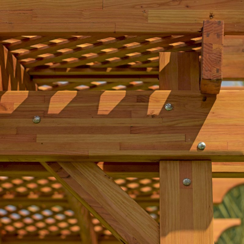 Arched Pergola Kit (Options: 16' L x 16' Arc W, Mosaic Eco-Wood, No Electrical Wiring Trim Kit, No Fan Base, No Privacy Panels, Transparent Premium Sealant).