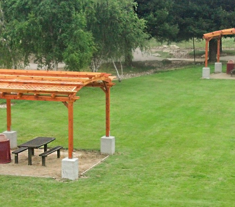 Arched Pergola Kits (Options: 16' L x 16' Arc W, California Redwood, Unattached, No Electrical Wiring Trim, Arched Roof with Lattice Panels, 4 Post Anchor Kit for Stone, No Ceiling Fan Base, No Privacy Panels, No Curtain Rods, 9' Post Height, Transparent Premium Sealant).