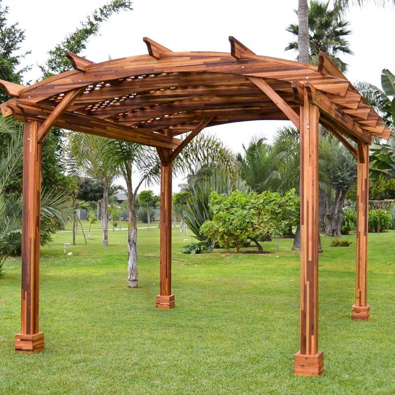 Arched Pergola Kit (Options: 12' L x 14' Arc W, Mosaic Eco-Wood, No Electrical Wiring Trim Kit, No Fan Base, No Privacy Panels, Transparent Premium Sealant).