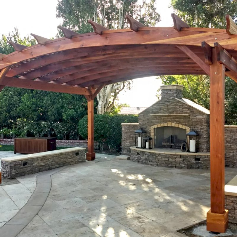 Arched Pergola Kit (Options: 12' L x 18' Arc W, California Redwood, No Electrical Wiring Trim Kit, 4 Post Anchor Kit for Concrete, No Ceiling Fan Bases, No Privacy Panels, No Curtain Rods, 9.5' Post Height, Transparent Premium Sealant). Photo Courtesy of D. Jarvis of Orange, CA.