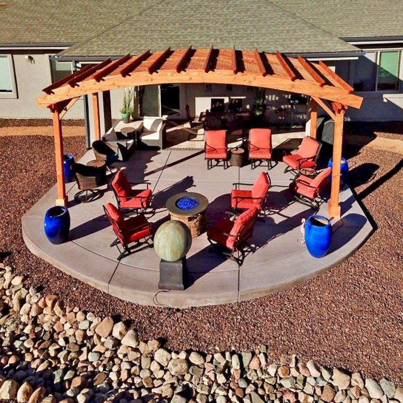 Arched Pergola Kit (Options: 10' L x 24' Arc W, Douglas-fir, No Electrical Wiring Trim Kit, 4 Post Anchor Kit for Concrete, No Ceiling Fan Base, No Privacy Panels, No Curtain Rods, 9' Post Height, Transparent Premium Sealant). Photo Courtesy of Hank Dolan of Prescott, Arizona.