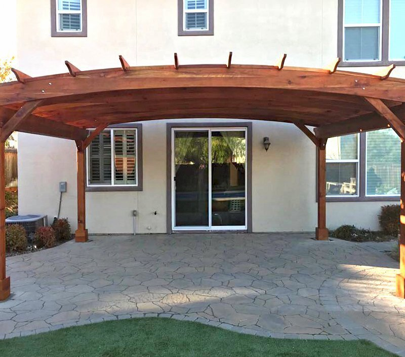 Arched Pergola Kit (Options: 15' L x 20' Arc W, California Redwood, Electrical Wiring Trim Kit for 1 Post, 4 Post Anchor Kit for Concrete, No Ceiling Fan Base, No Privacy Panels, No Curtain Rods, 9' Post Height, Transparent Premium Sealant). Photo Courtesy of Myron Lee of Danville, CA.