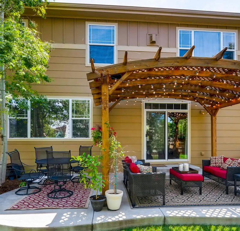 Arched Pergola Kits (Options: 16' L x 12' Arc W, No Privacy Panels, California Redwood, 9ft H, No Electrical Wiring Trim, Include 4-post Anchoring Kit for Stone, No Post Decorative Trim, No Ceiling Fan Base, No Curtain Rods, Transparent Premium Sealant). Participant of Photo Contest 2017.