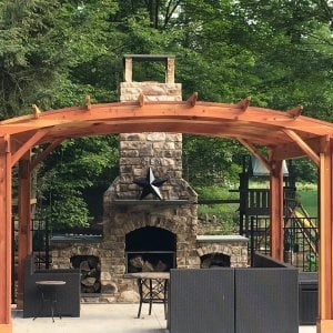 Arched Pergola Kits (Options: 14' L x 16' Arc W, No Privacy Panels, Redwood, 9ft H, No Electrical Wiring Trim for 2 Posts, Include 4-post Anchoring Kit for Stone, Vertical Post Decorative Trim, No Ceiling Fan Base, No Curtain Rods, Transparent Premium Sealant). Participant of Photo Contest 2017.