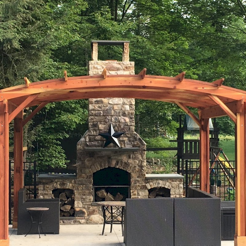 Arched Pergola Kits (Options: 14' L x 16' Arc W, No Privacy Panels, California Redwood, 9ft H, No Electrical Wiring Trim for 2 Posts, Include 4-post Anchoring Kit for Stone, Vertical Post Decorative Trim, No Ceiling Fan Base, No Curtain Rods, Transparent Premium Sealant). Participant of Photo Contest 2017.