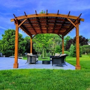 Arched Pergola Kits (Options: 18' L x 14' Arc W, No Privacy Panels, Redwood, 9.5ft H, Include Electrical Wiring Trim for 2 Posts, Include 4-post Anchoring Kit for Stone, No Post Decorative Trim, Add Ceiling Fan Base, No Curtain Rods, Transparent Premium Sealant). Participant of Photo Contest 2017.