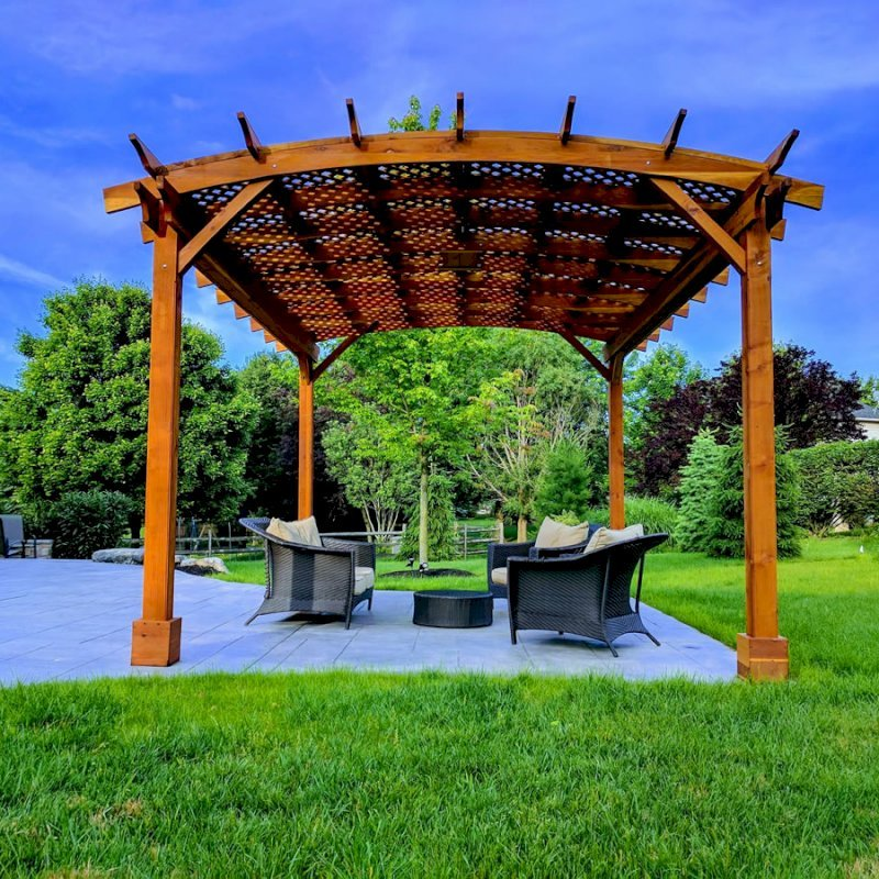 Arched Pergola Kits (Options: 18' L x 14' Arc W, No Privacy Panels, California Redwood, 9.5ft H, Include Electrical Wiring Trim for 2 Posts, Include 4-post Anchoring Kit for Stone, No Post Decorative Trim, Add Ceiling Fan Base, No Curtain Rods, Transparent Premium Sealant). Participant of Photo Contest 2017.