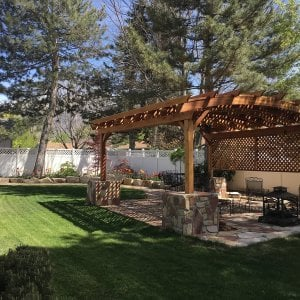 Arched Pergola Kits (Options: 18' L x 14' Arc W, No Privacy Panels, Redwood, 9.5ft H, Include Electrical Wiring Trim for 2 Posts, Include 4-post Anchoring Kit for Stone, No Post Decorative Trim, Add Ceiling Fan Base, No Curtain Rods, No Retractable Shade Canopy, Transparent Premium Sealant). Participant of Photo Contest 2017.
