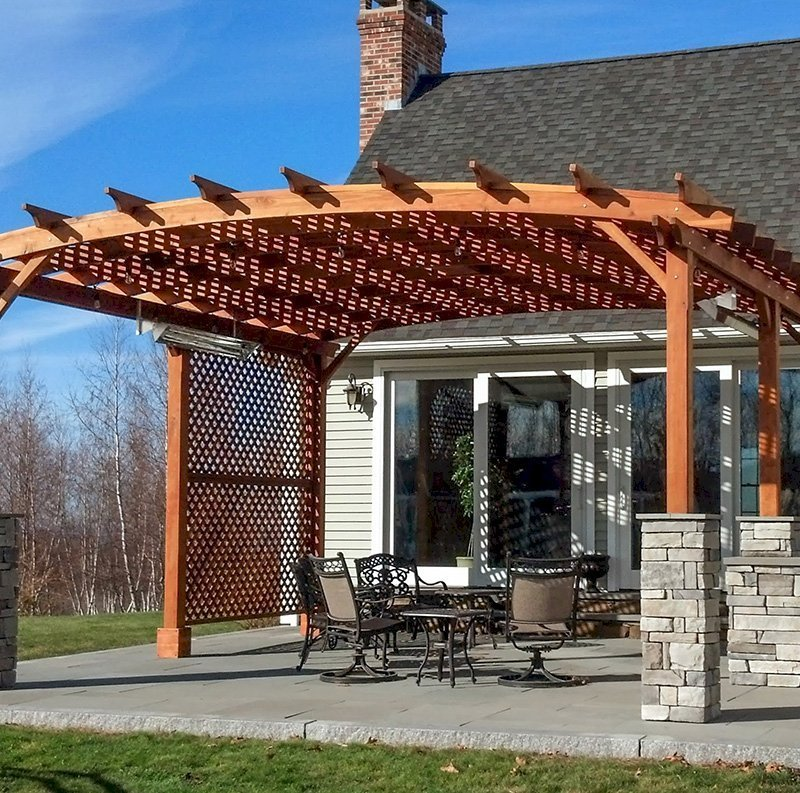 Arched Pergola Kits (Options: 20' L x 20' Arc W, California Redwood, Unattached, No Electrical Wiring Trim, Arched Roof with Lattice Panels, 6 Post Anchor Kit for Gale-Wind, No Ceiling Fan Base, 2 Privacy Panels, No Curtain Rods, with 6 Posts Instead of 4 by Custom Request, 9' Post Height, Transparent Premium Sealant). Photo Courtesy of Jessy Sirois of Hampden, Massachusetts.
