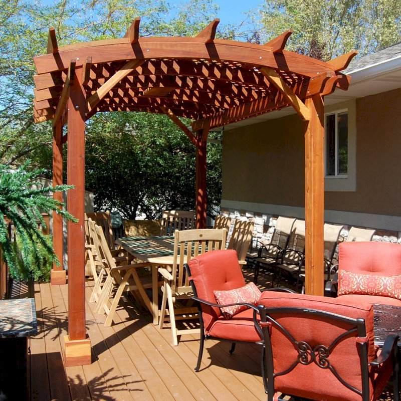 Arched Pergola Kits (Options: 14' L x 10' Arc W, California Redwood, Unattached, No Electrical Wiring Trim, Arched Roof with Lattice Panels, 4 Post Anchor Kit for Stone, No Ceiling Fan Base, No Privacy Panels, No Curtain Rods, 10' Post Height, Transparent Premium Sealant).