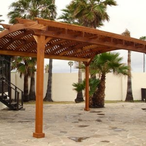 Arched Pergola Kits (Options: 20' L x 16' Arc W, Redwood, Unattached, No Electrical Wiring Trim, Arched Roof with Lattice Panels, 4 Post Anchor Kit for Stone, No Ceiling Fan Base, No Privacy Panels, No Curtains Rods, 9' Post Height, Transparent Premium Sealant).