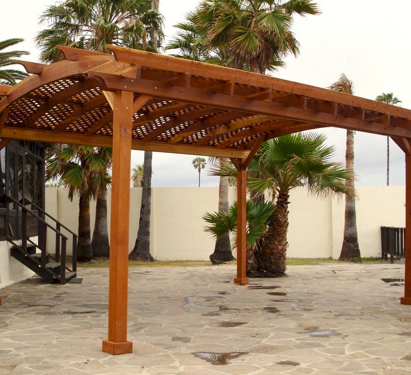 Arched Pergola Kits (Options: 20' L x 16' Arc W, California Redwood, Unattached, No Electrical Wiring Trim, Arched Roof with Lattice Panels, 4 Post Anchor Kit for Stone, No Ceiling Fan Base, No Privacy Panels, No Curtains Rods, 9' Post Height, Transparent Premium Sealant).