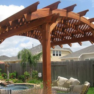 Arched Pergola Kits (Options: 14' L x 14' Arc W, Mature Redwood, Unattached, No Electrical Wiring Trim, Arched Roof with Lattice Panels, 4 Post Anchor Kit for Stone, No Ceiling Fan Base, No Privacy Panels, No Curtain Rods, 9' Post Height, Transparent Premium Sealant).
