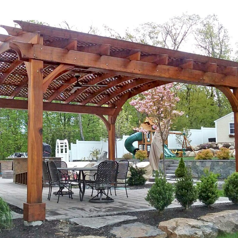Arched Pergola Kit (Options: 18' L x 20' Arc W, California Redwood, Electrical Wiring Trim for 2 Posts, 4 Post Anchor Kit for Gale-Wind, 1 Ceiling Fan Base, No Privacy Panels, No Curtain Rods, 9.5' Post Height, Transparent Premium Sealant). Photo Courtesy of P. Cannistraci of Peabody, MA.