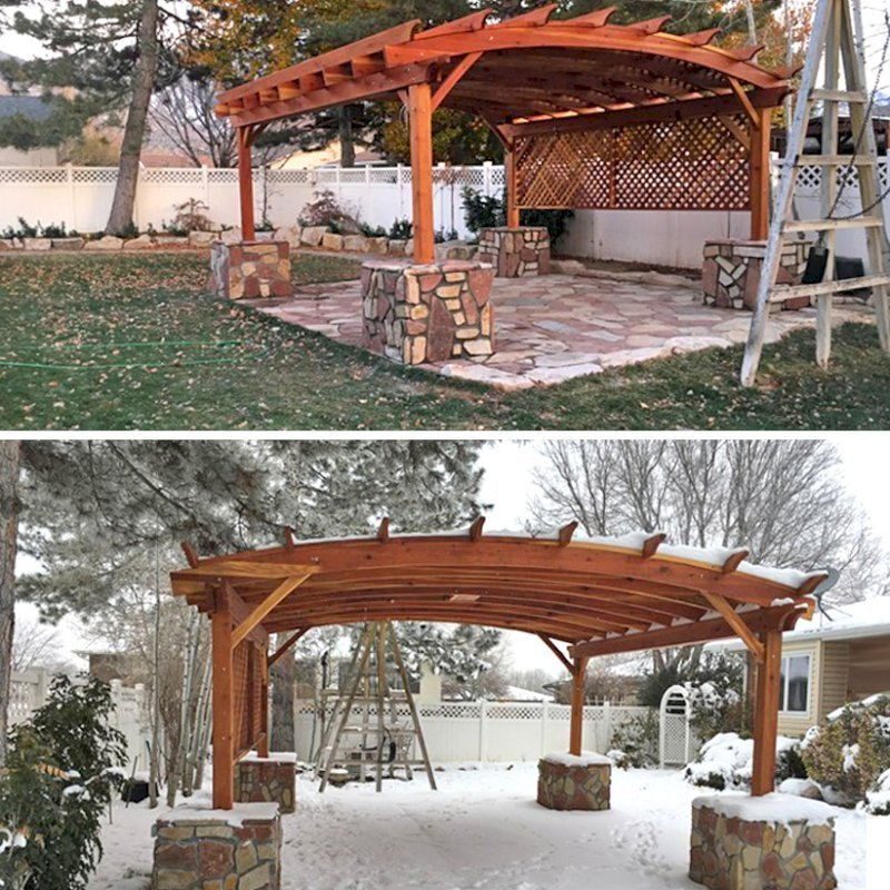 Arched Pergola Kit (Options: 18' L x 18' Arc W, California Redwood, 2 Electrical Wiring Trims, Arched Roof with Lattice Panels, 4 Post Anchor Kit for Gale-Wind, 1 Ceiling Fan Base, Privacy Panel on 1 Side, No Curtain Rods, Transparent Premium Sealant). Same structure photographed in early fall and in early winter - yes, Redwood will be fine in any weather for decades! Photo Courtesy of P. Halliday of Salt Lake City, UT.