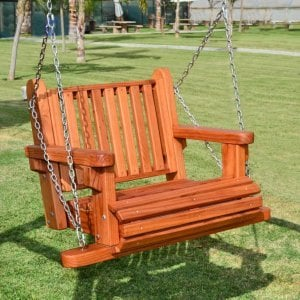 Armchair Swing (Options: Mature Redwood, Classic Garden Seat, All Tree Hanging Hardware, No Engraving, Transparent Premium Sealant).