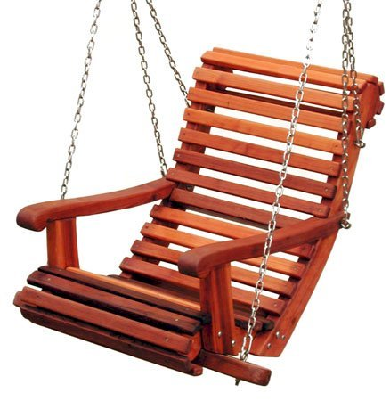 Armchair Swing (Options: Old-Growth Redwood, Ensenada Style Seat, All Tree Hanging Hardware, No Engraving, Transparent Premium Sealant).