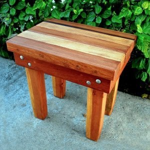 "Ashley's Rectangular Side Table (Options: 18""L x 12""W, Redwood and Old-Growth Redwood, 18""H, Transparent Premium Sealant)."