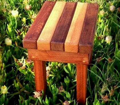 """Ashley's Rectangular Side Table (Options: 18""""L x 12""""W, California Redwood and Old-Growth Redwood, 18""""H, Transparent Premium Sealant)."""