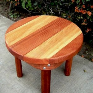"Ashley's Round Side Table (Options: 24"" Diameter, 18"" Inches Tall, Mature Redwood and Douglas-fir, Transparent Premium Sealant)."