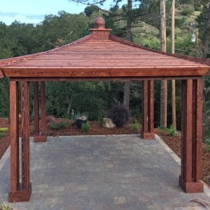Asian Fusion Pavilion (Options: 18 ft L x 18 ft W, Douglas-fir, 4-Asian Fusion Anchoring Selts, No Electrical Wiring Trim, 10 ft H, No Ceiling Fan, No Privacy Panels, No Curtaind Rods, Coffee-Stain Premium Sealant). Photo Courtesy of M. Chadha of Saratoga, CA.