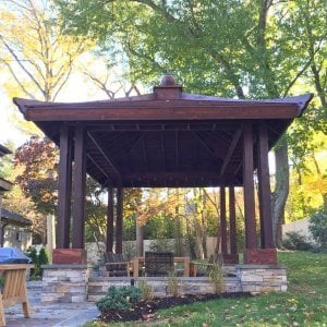 Asian Fusion Pavilion (Options: 22 ft L x 16 ft W, Mature Redwood, 6-Asian Fusion Anchoring Selts, No Electrical Wiring Trim, 10 ft H, No Ceiling Fan, No Privacy Panels, No Curtaind Rods, Coffee-Stain Sealant).