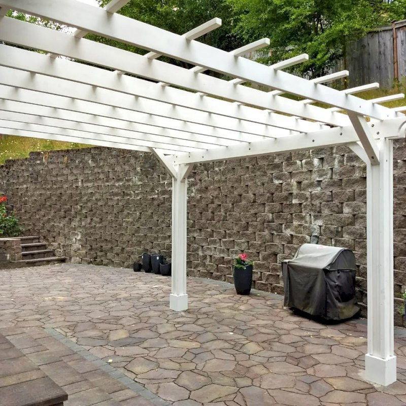 "Attached Garden Pergola (Options: 14' x 14', Attached to Wall by Supports Side, Douglas-fir, Electrical Wiring Trim for 2 Posts, Open Roof with Slats at 18"", Vertical Decorative Trims on Posts, Off-White Oil-Based Primer)."