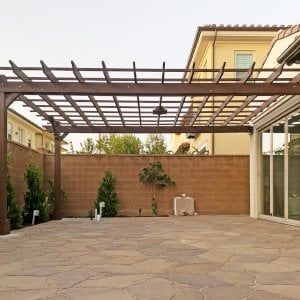 """Attached Garden Pergola (Options: 10' x 12', California Redwood, Open Roof with Slats at 18"""", Rafters at 18"""", 2-Post Anchor Kit for Concrete, 1 Ceiling Fan Base, Transparent Premium Sealant). Photo Courtesy of M. Ibrahim Elfar of Irvine, California."""
