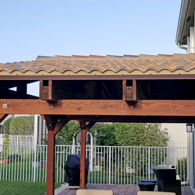 Attached Pavilion (Options: Del Norte roof style, 12'L x 25'W [Custom Measures, not recomended for snowy areas], California Redwood, 3-post Kit Gale-Wind, No Electrical Wiring Trim, 9ft Posts Height, No Ceiling Fan Base, No Curtain Rods, No Privacy Panels, Transparent Premium Sealant). Photo Courtesy of Carol Varela of Florida.