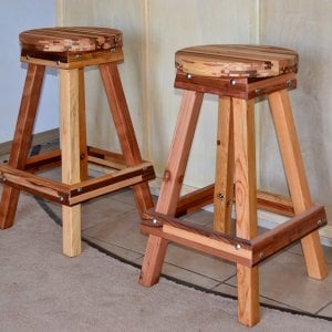 "Backless Bar Stool (Options: 29"" H, Mosaic Eco-Wood, Round Seat, 4 Legs, No Engraving, Transparent Premium Sealant)."