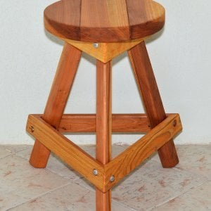 "Backless Bar Stool (Options: 29"" H, Redwood, Round 15"" Diameter Seat, 3 Legs, Transparent Premium Sealant)."