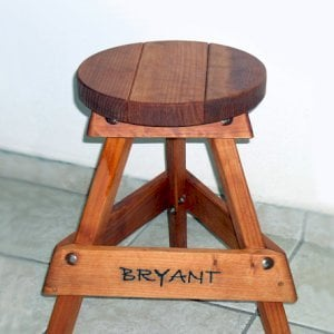 "Backless Bar Stool (Options: 24"" H, Mature Redwood, Round 15"" Diameter Seat, 3 Legs, Engraving with Custom finish - Transparent Premium Sealant for legs, Coffee Stain for Seat)."